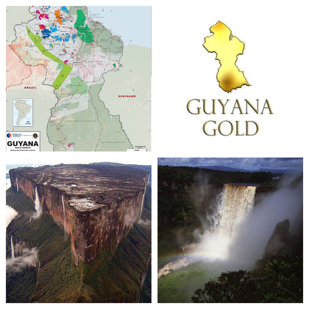 Top Left:  A map of the mining areas throughout Guyana.  Bottom Left:  Mount Roraima spans through the rainforest of Guyana, Venezuela and Brazil.  Bottom Right:  Kaieteur Falls is the world's widest single drop waterfall. Located on the Potaro River in Essequibo, Guyana.