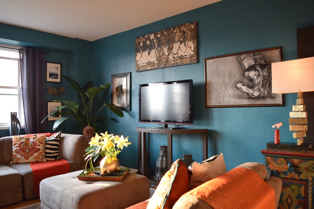 Living Room by Helen Hamblin Designs:  This room has a variety of furniture styles as well as an eclectic mix of art.