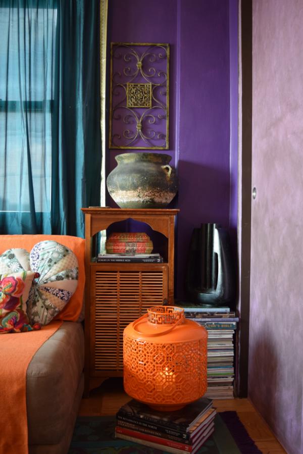 Colorful bedroom corner vignette  by Helen Hamblin Designs