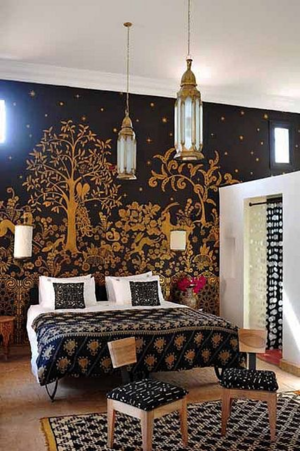 Bold and whimsical wallpaper in this Moroccan style bedroom.   (Click picture to go to link)