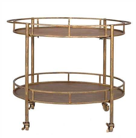 This oval bar cart is perfect for adding style and sophistication to your home anytime but especially during parties!  The wheels make it easy and fun for all to enjoy.