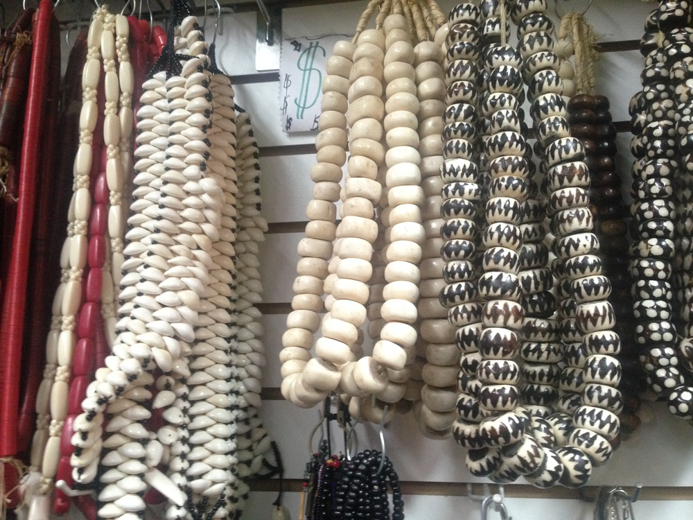 Kaarta Imports and Export on 125th Street:    The strands on the right of the $ sign are the camel bone.  They cost  $30.