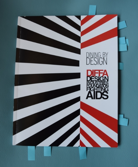 """This is the """"guide book"""" given to everyone visiting  Dining By Design . It features the DIFFA Board of Trusties and staff, sponsors of  Dining by Design and all of the design companies participating."""