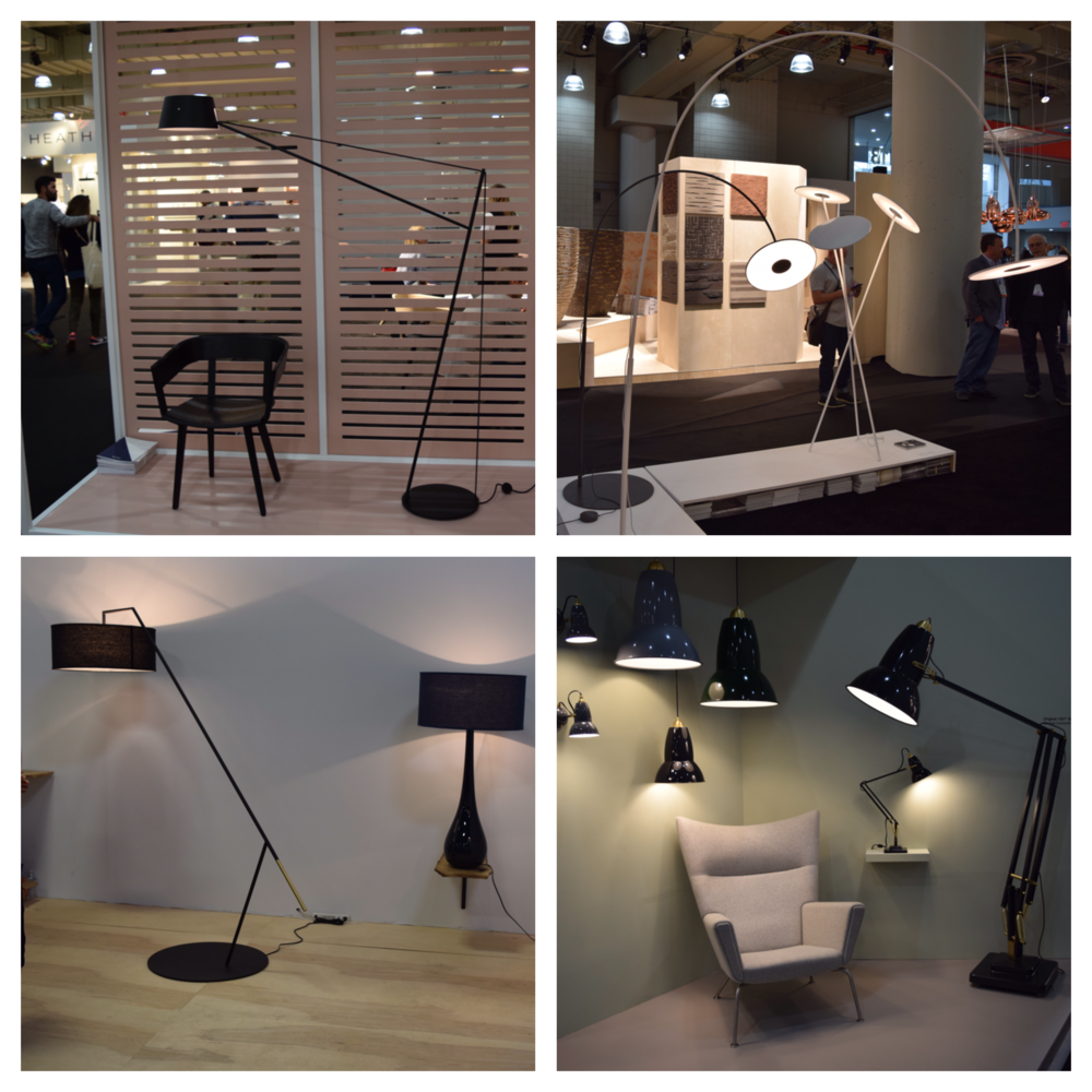Top Left:   Spar Floor Light by Jamie McLellan of   Resident Co.     Top Right:   Circa by  Pablo Designs     Bottom Left:  Custom lighting made in Brooklyn, NY by  Ludwig & Larsen    Bottom Right:   Indoor/Outdoor lighting, Giant Collections by  Angle Poise