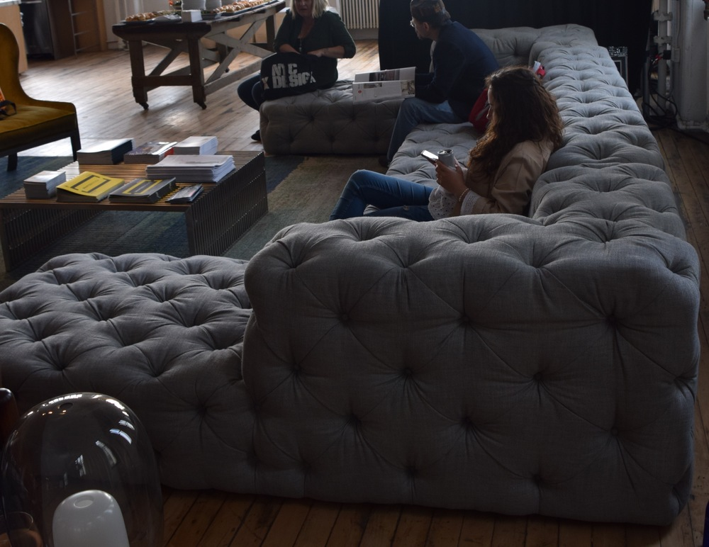 Wanted Design event in Brooklyn, not sure who made the gray and tan sofas in the lounge areas above : \
