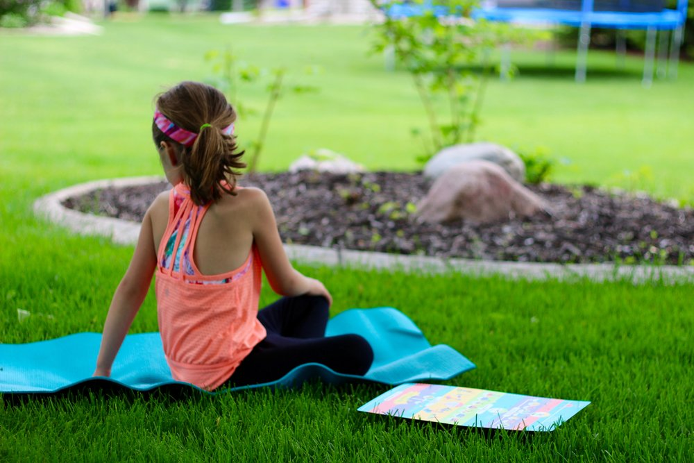 Owl Pose:   Sit up tall in criss-cross applesauce.  Turn to the LEFT, placing your LEFT HAND behind your back and your RIGHT HAND on your LEFT KNEE.  Turn your head to look behind you.  Unwind and try it on the other side.