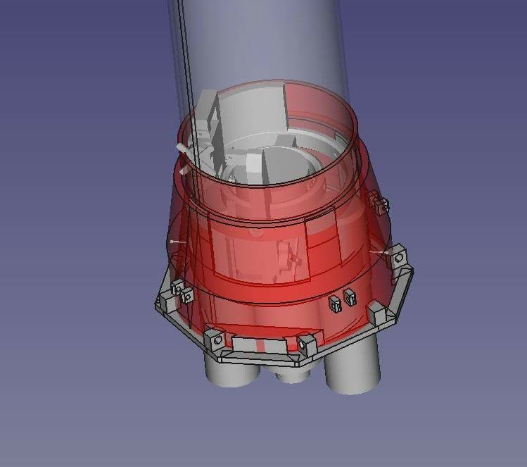 An older design of the thrust vectoring mount and skirt at the bottom of the rocket
