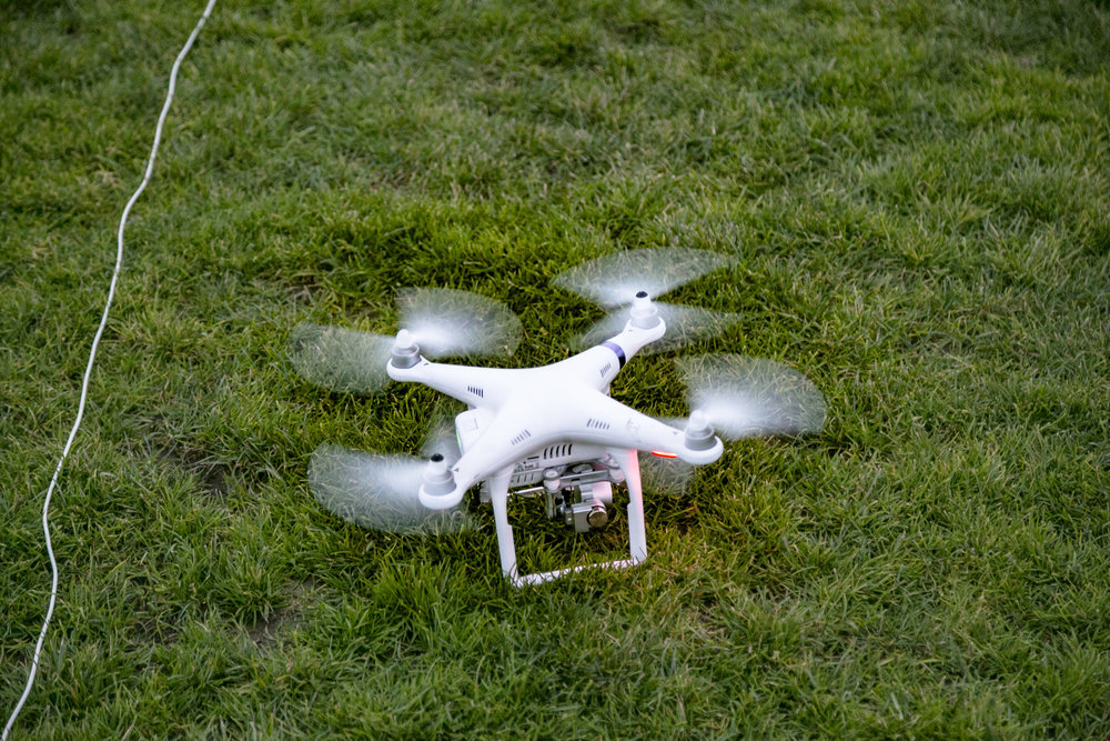 Aerial coverage drone just before lifting off to begin an automated flight pattern
