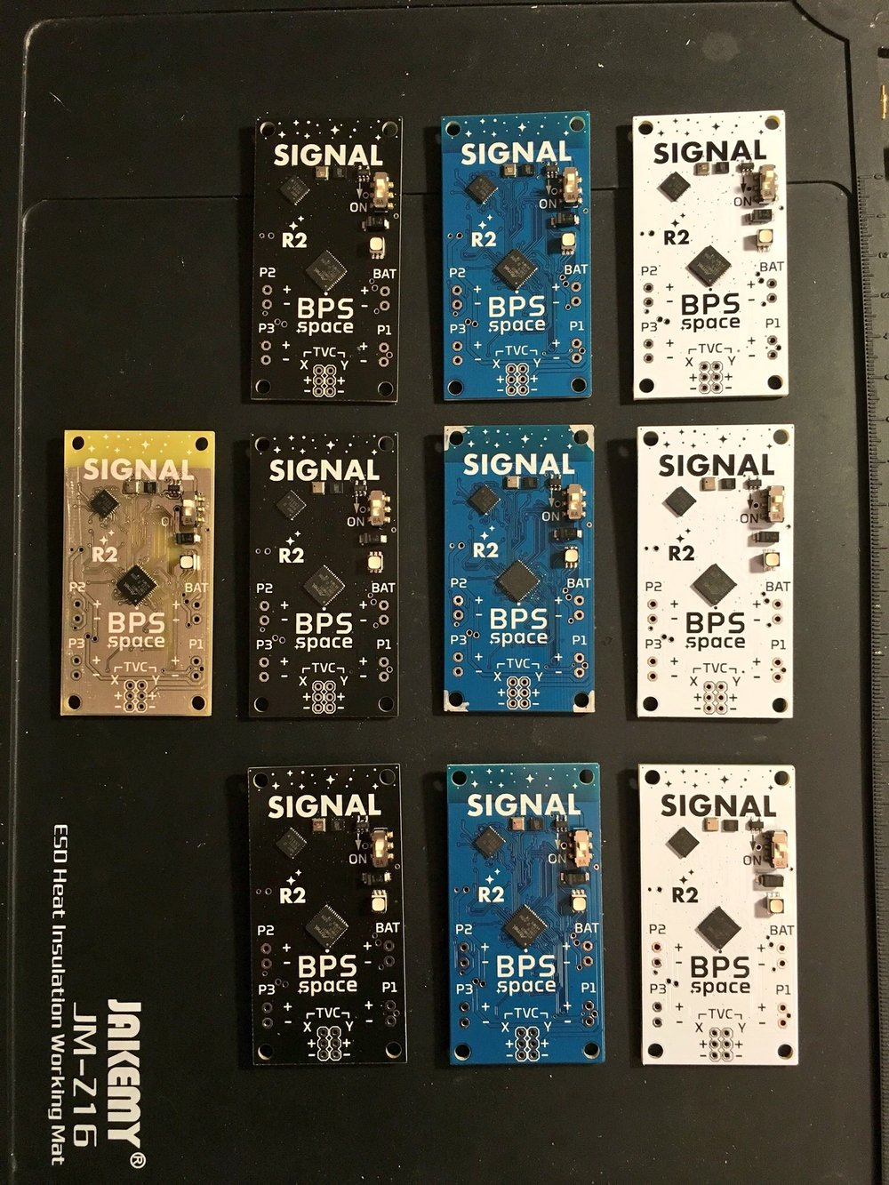 Pre-production versions of the Signal R2 flight computer. Each production round, several PCB colors are ordered just for fun!