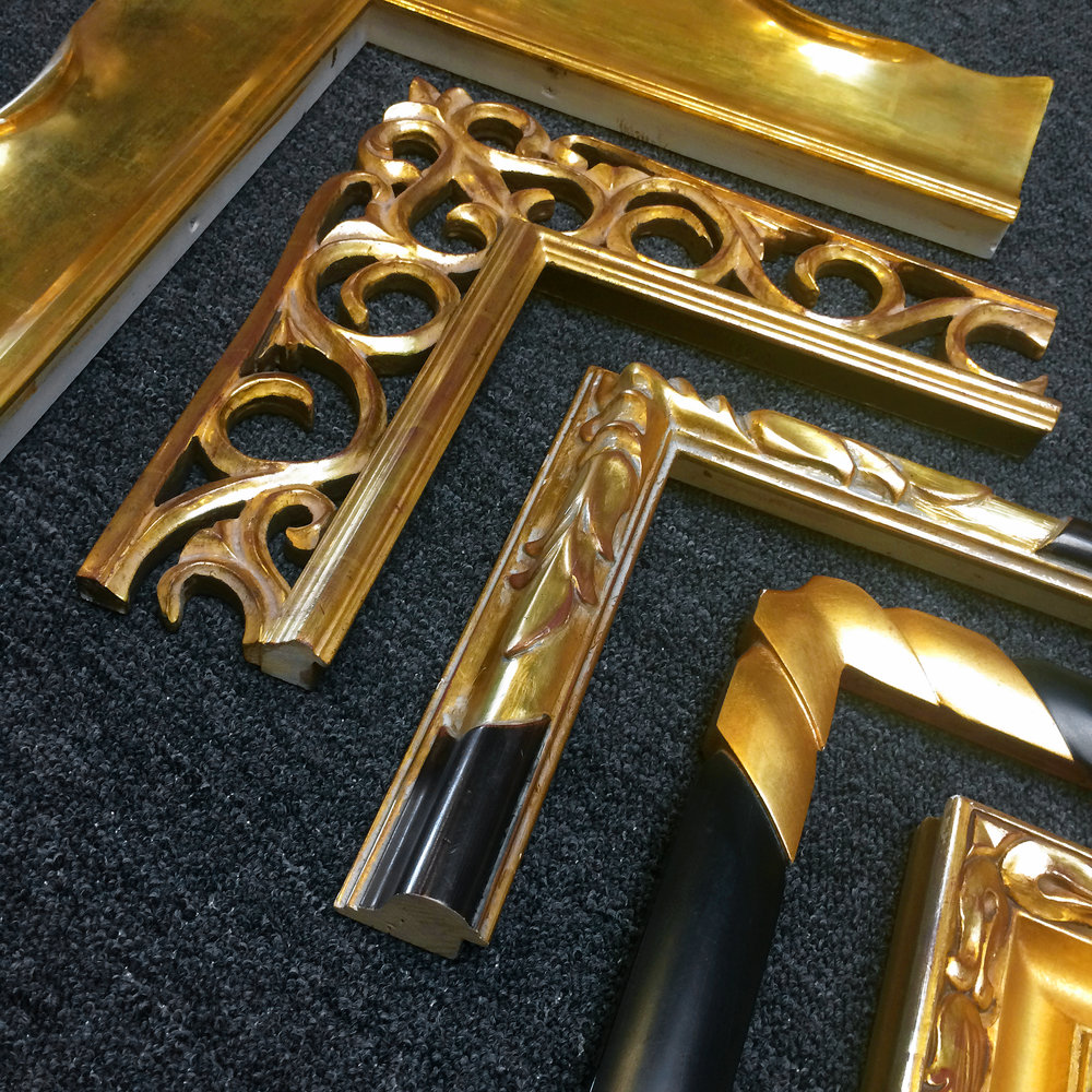 Hand-carved, 22k Gold Museum Frames