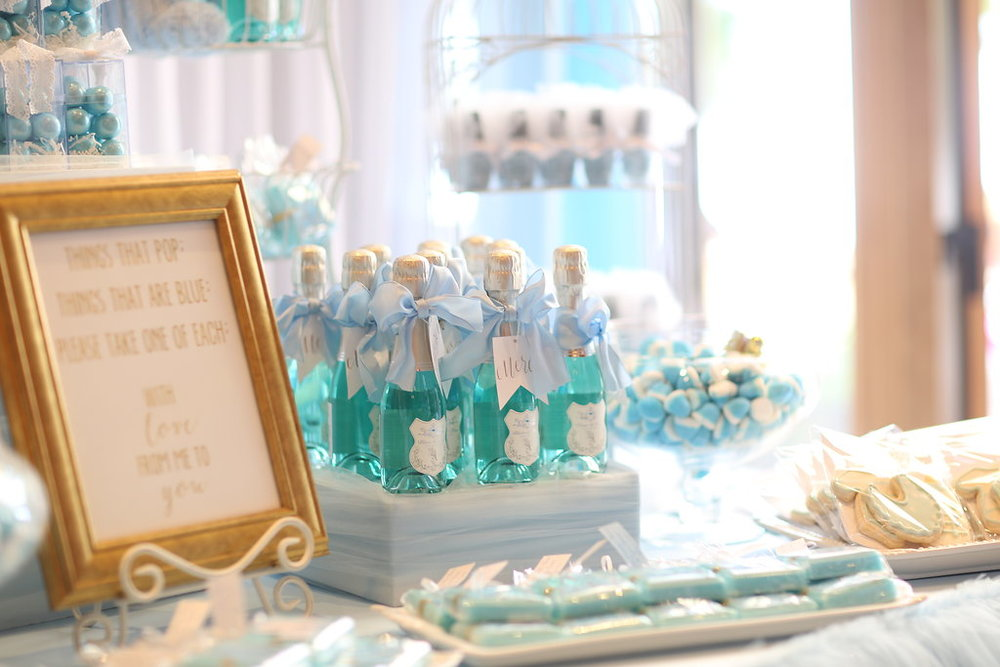 Everyone thought the blue wine was bubble bath (which would have also been a cute favor, come to think of it!)