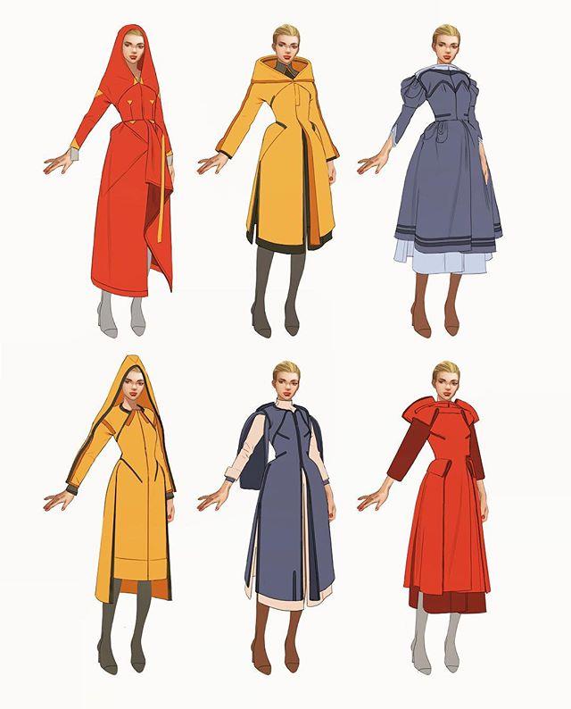 #thumbnails #digitalart #artoftheday #costumedesign #characterdesign #conceptart 👋 robes / jacket exploration