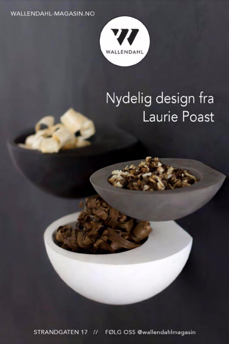 Wall Bowls in Gray, White, and Black available now at Wallendahl Magasin.
