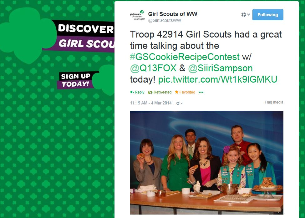 Sampson_Q13 KCPQ Segment Tweet for Girl Scouts of WW_030414.JPG