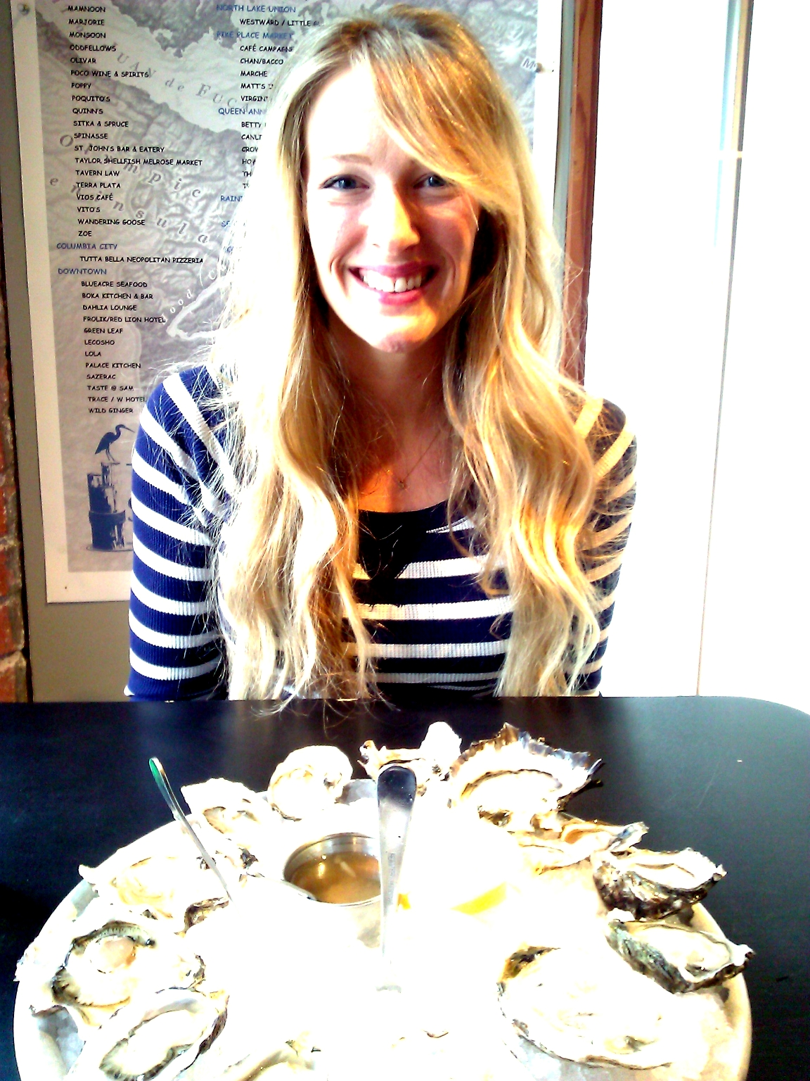 Found this one from this past weekend when Lindsay and I were at Taylor Shellfish. Can you see the excitement on my face?! I *really* love oysters!