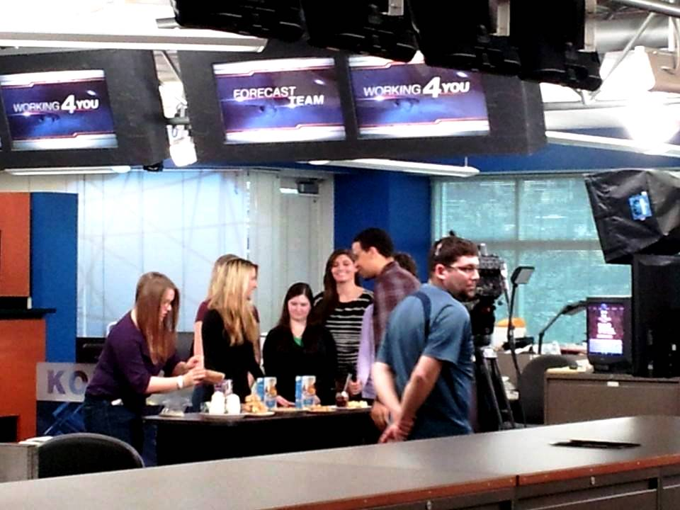 All the finalists lining up for our segment on the news room floor while the broadcast is live.