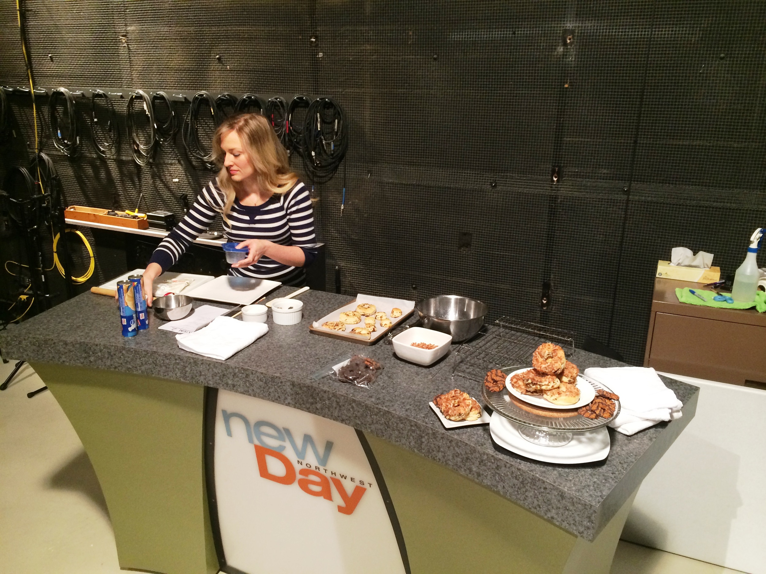 Siiri prepping her station on New Day Northwest