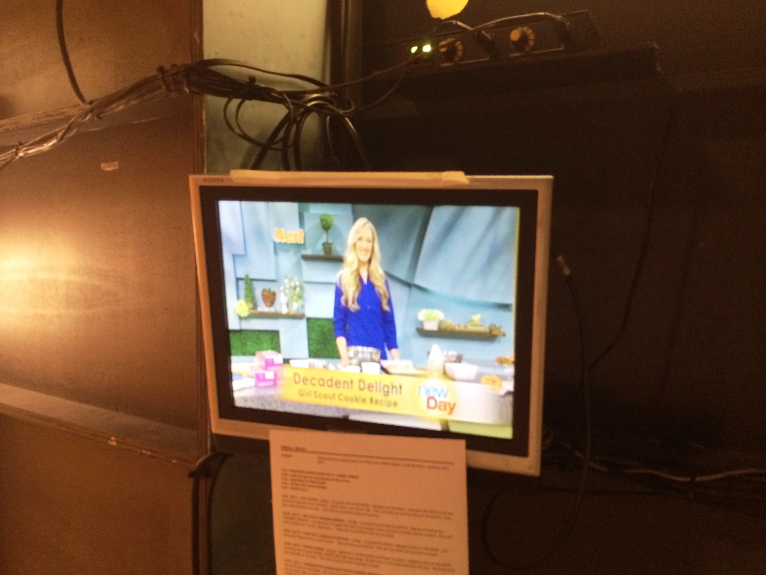 During the taping of a show, they do lead ins and teasers for the segment. This is from backstage, where you can watch on the monitor as the teaser is taped, and see what it looks like on TV.