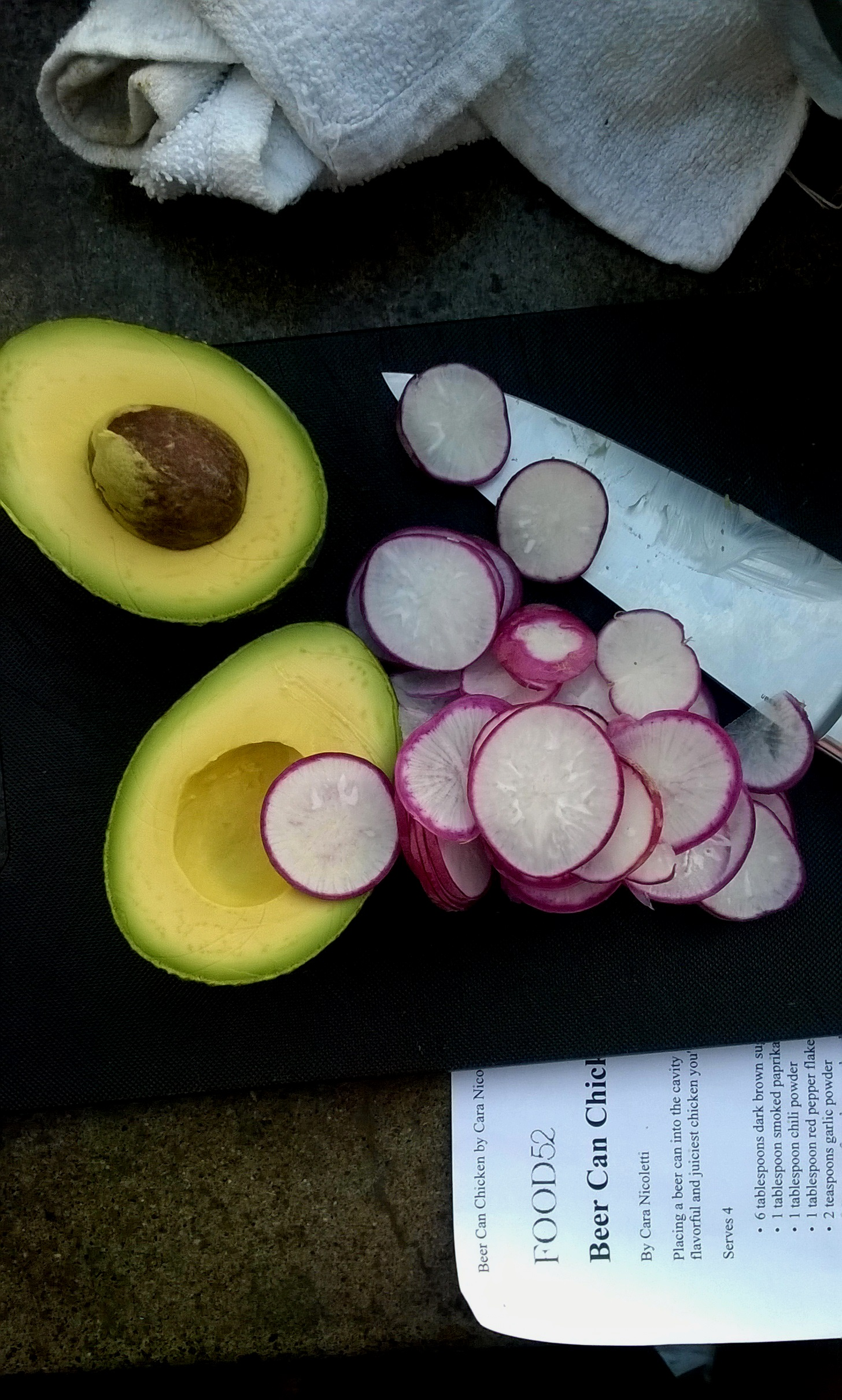 Avocado and radishes