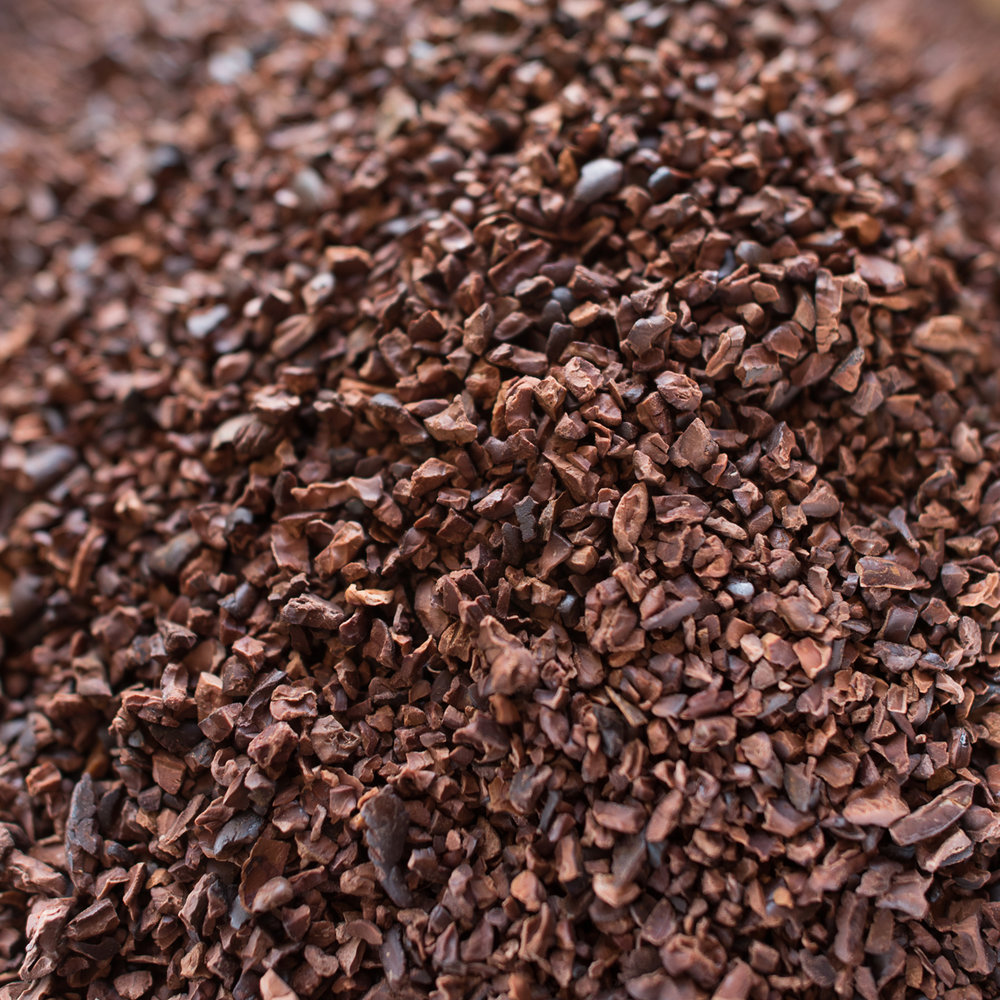 Beautiful cocoa nibs ready to be ground into pure chocolate.