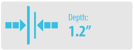 """Depth: 1.2"""" 
