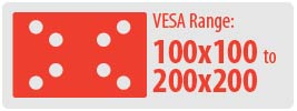 VESA Range: 100x100 to 200x200 | Small Ceiling TV Mount