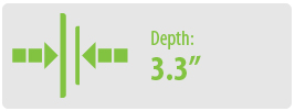 """Depth: 3.3"""" 