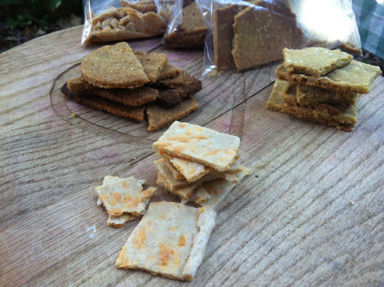 "In this photo, I have 3 different kinds of crackers: ""cheez its"" made with grated cheese and wheat flour. Almond olive crackers, with lots of almond flour and extra olive oil, and a third variety with extra seeds (I've got 3 kinds in there!). See the recipe below and play around with making your own varieties."
