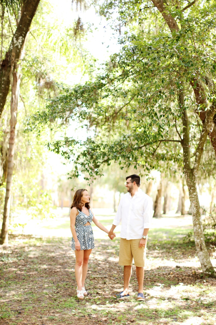 summertime romantic woodsy engagement session