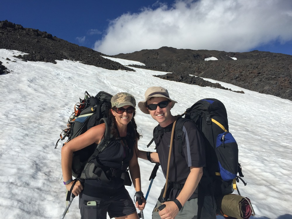 We ♡ the outdoors - Emily & Ryan on the way to summit Mt. Adams >>We've made the summit of several NW mountains, such as Mt. David, Mt. St. Helens, and Mt. Rainier.