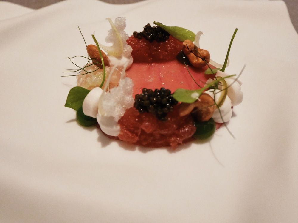 Big eye tuna, caviar, coconut, miner's lettuce