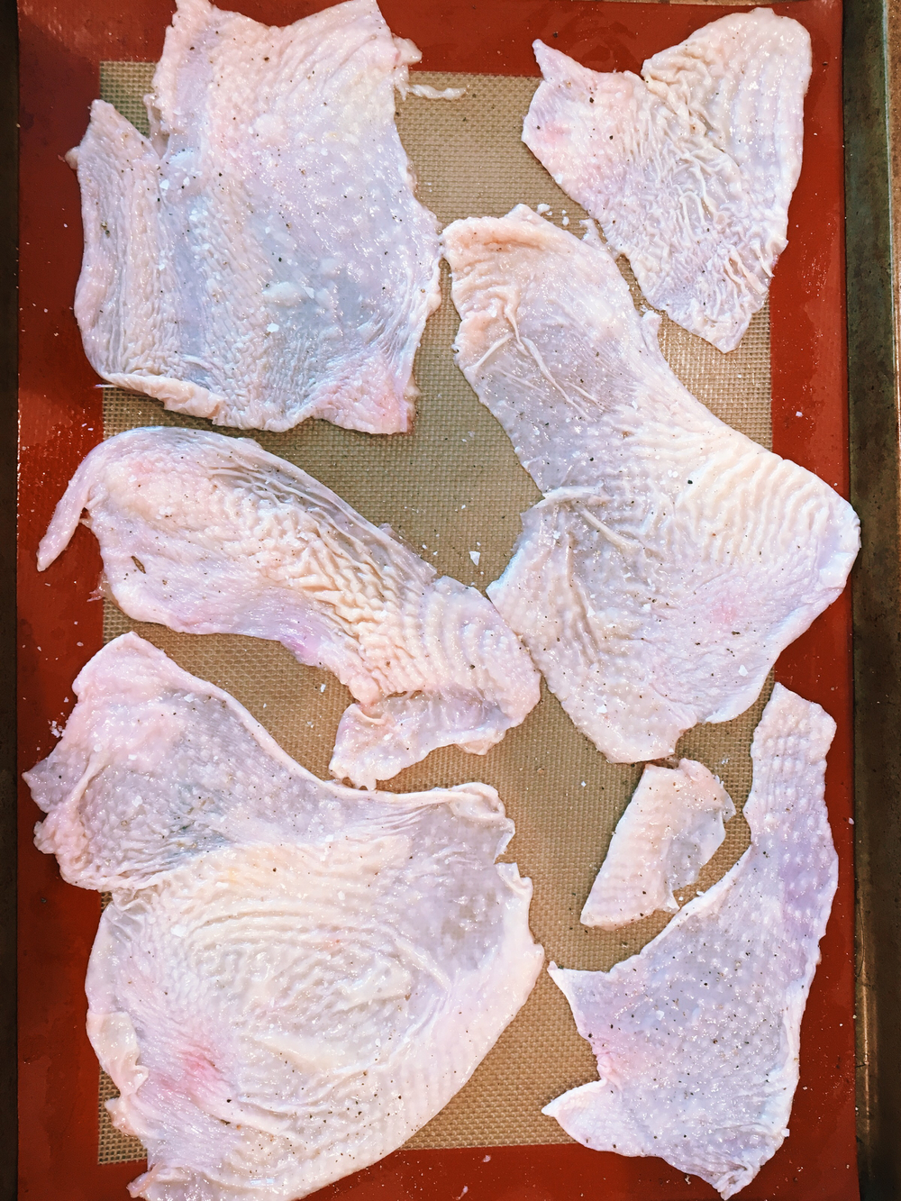 Chicken skins on silpat