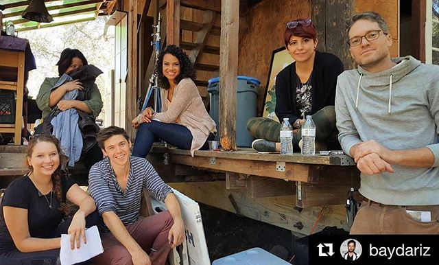 "We wrapped ""Cathedrals!"" Here's @heymisscici @rubyrubyclaire @eleweaver @whydenmarkisbroke and me on set, posing for the next Babysitter's Club book cover in our downtime. Thank you for everything! So excited to start cutting. #film #filmmaking #ig"