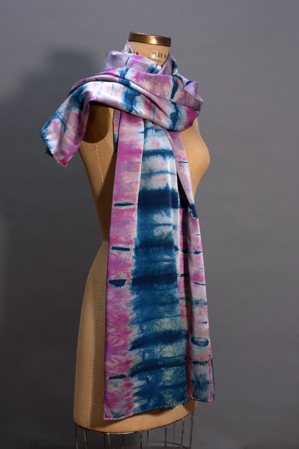 one. silk wrap in plums and natural indigo