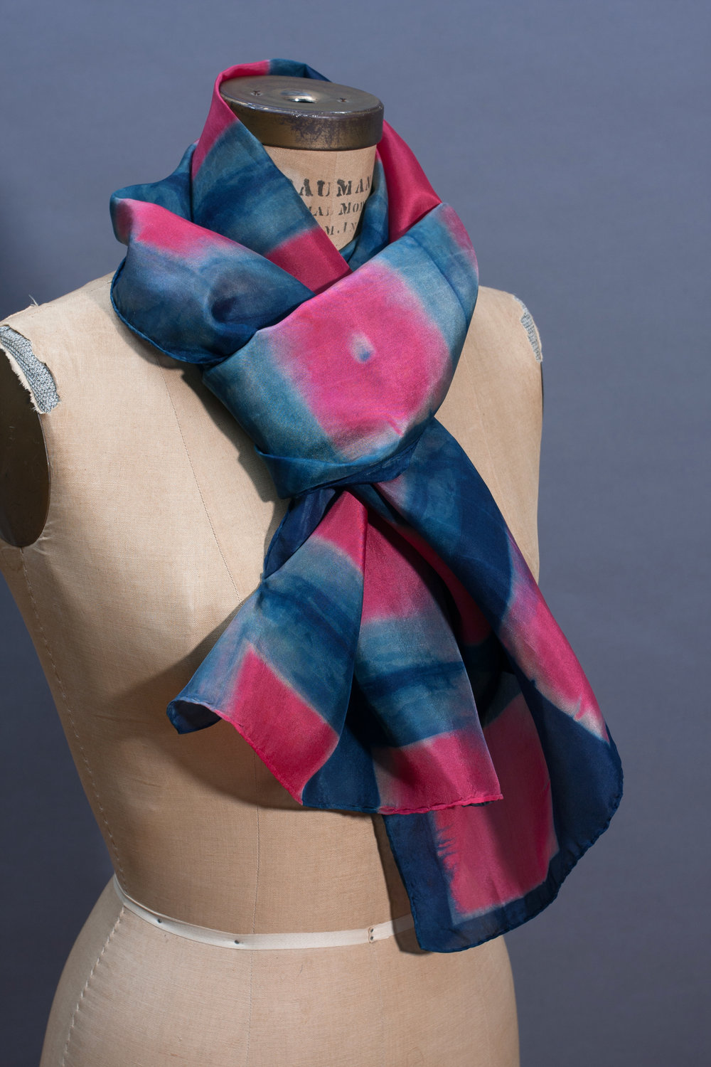 four. silk scarf in natural indigo and pinks