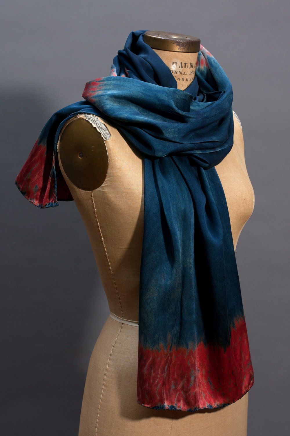 two. silk wrap in natural indigo and reds