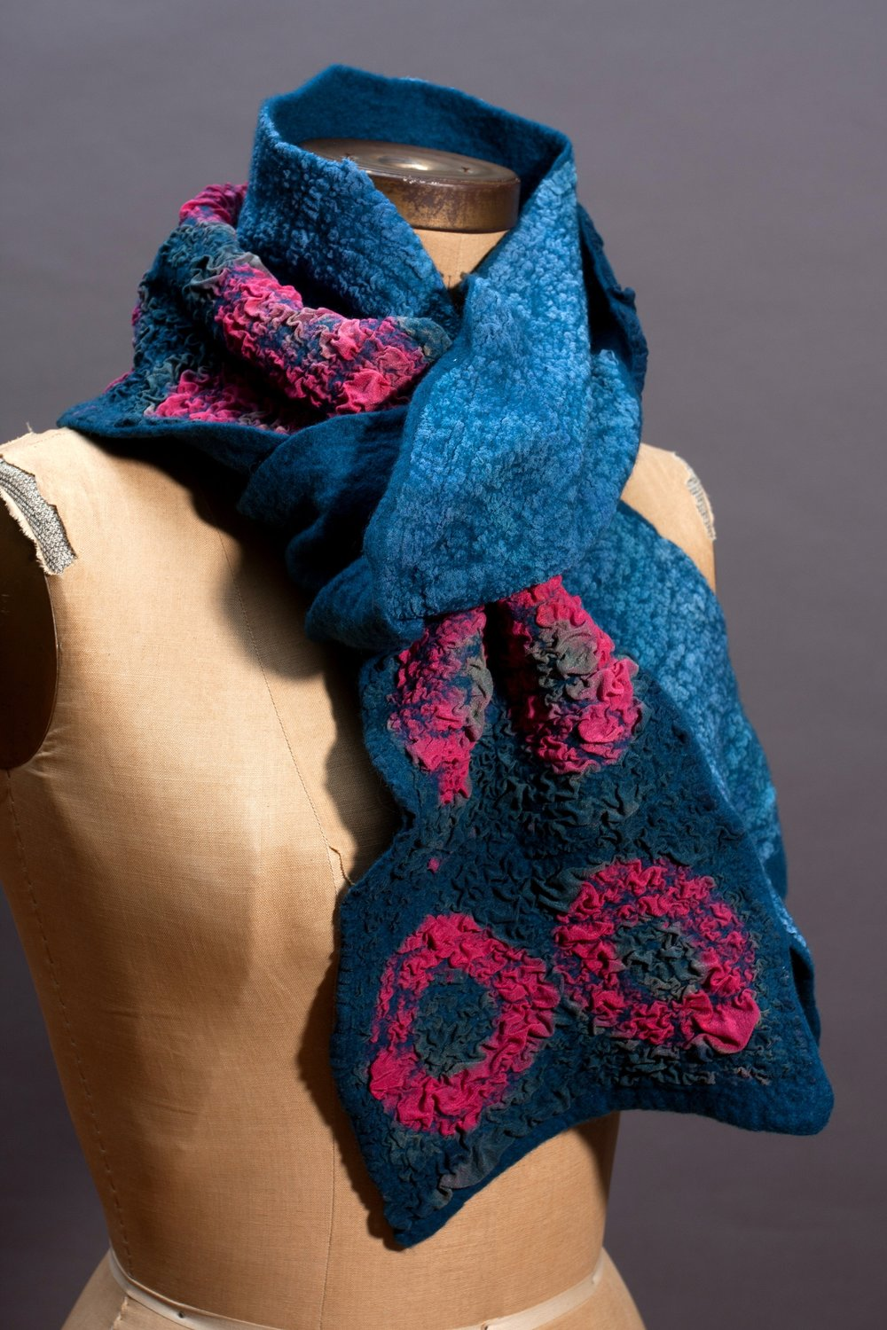 six. nuno felting with hand-dyed silk and merino wool