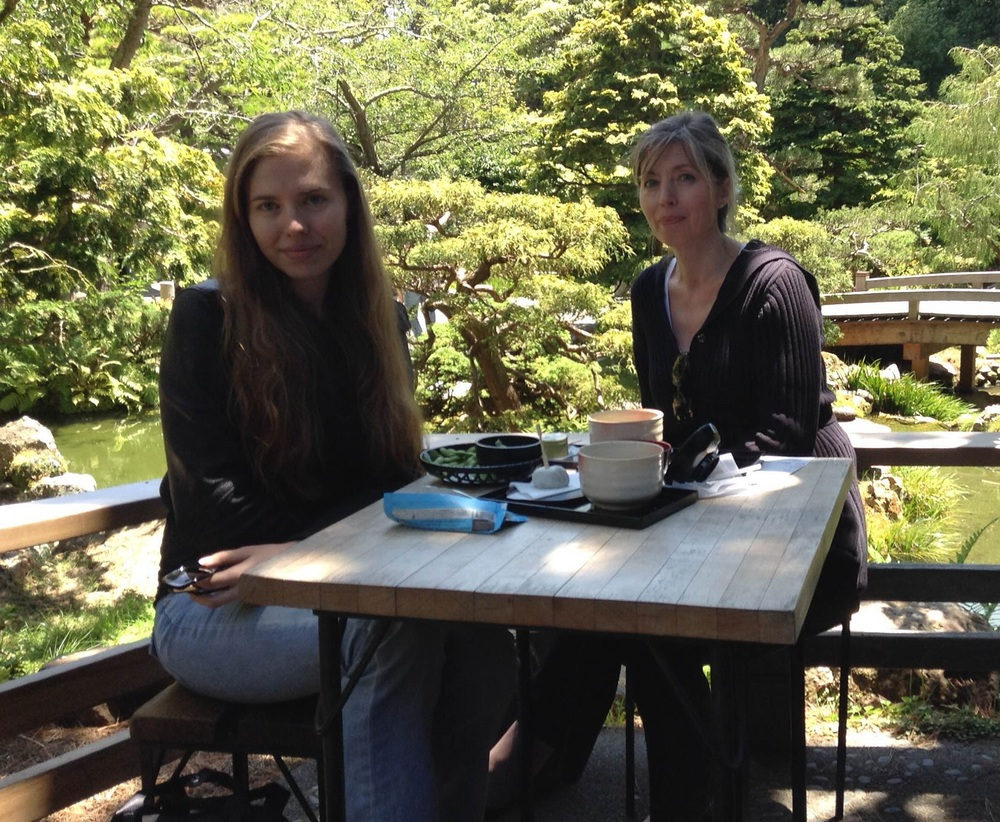 Ukrainian tourists Tanya (left) and Yelena (right) enjoy the zen garden with traditional Japanese green tea and green tea-infused snacks- Photo by Maggie McAden