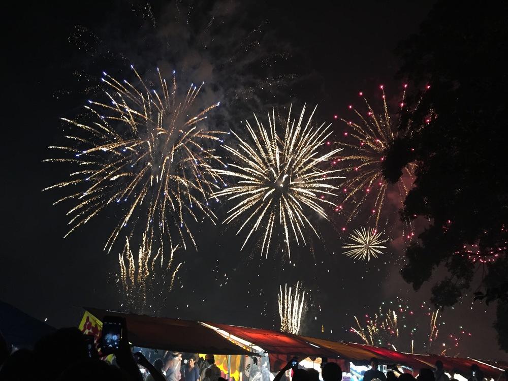 A finale of fireworks at the Nagara River Fireworks Festival.