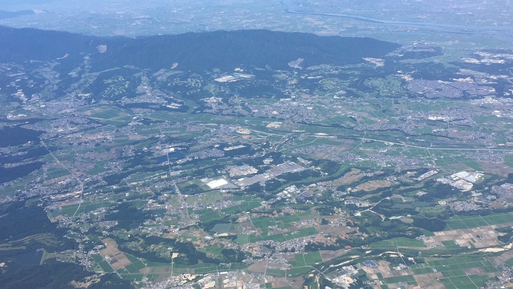 A view from the airplane on the way to Kumamoto