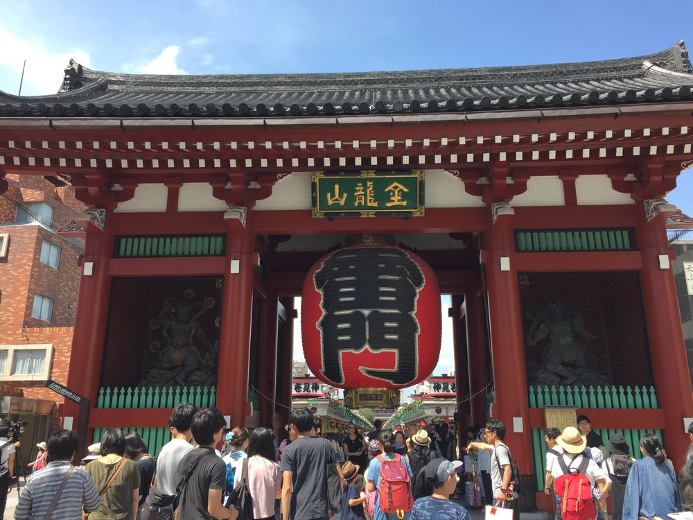 The Kaminarimon gate which leads to the Senso-ji temple in Asakusa,   Tokyo.