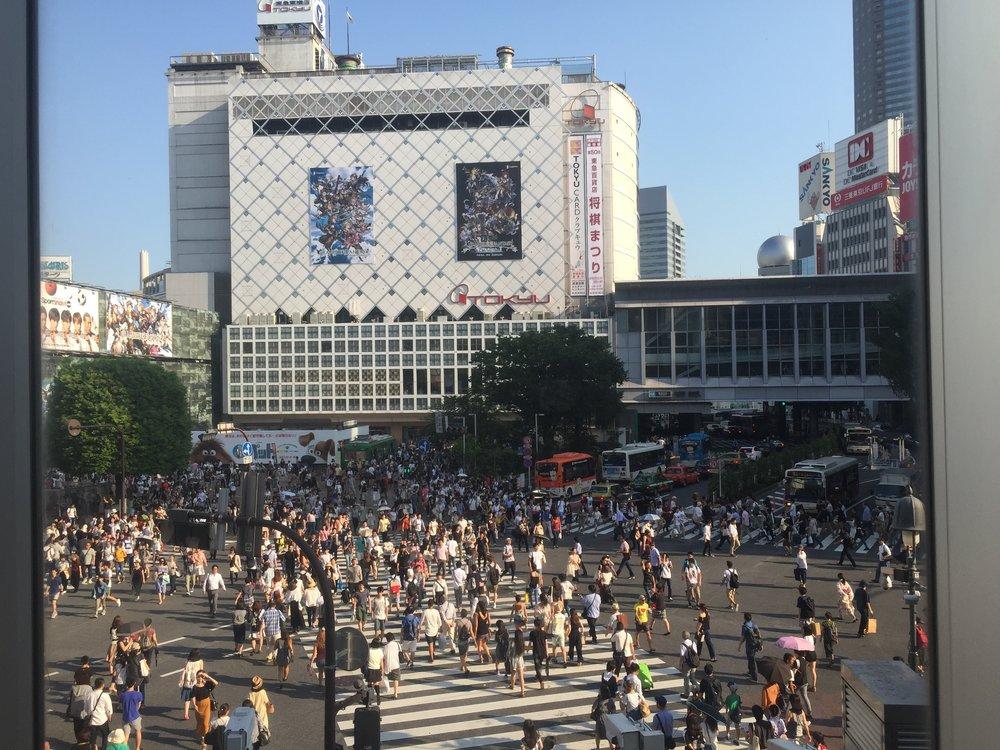 The Scramble  Crossing in Shibuya, Tokyo.