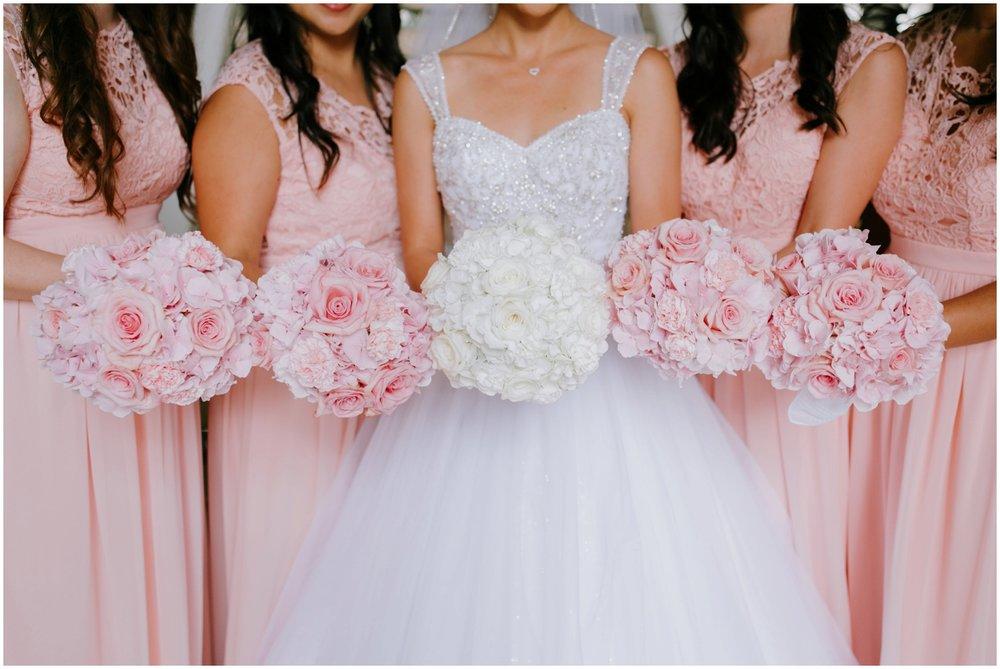 Wedding flowers, pink and white wedding bouquet, bridesmaids, Halekulani Hotel Wedding Photos, Waikiki Hawaii Wedding Photographer, Hawaii Wedding Photographer, Hawaii Wedding Photos, Waikiki Wedding