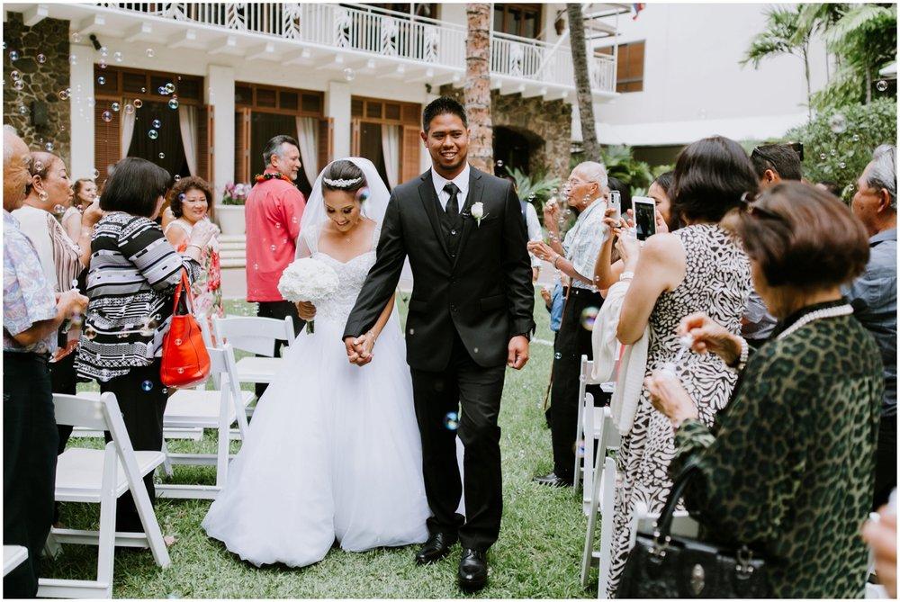 bubble exit, Halekulani Hotel Wedding Photos, Waikiki Hawaii Wedding Photographer, Hawaii Wedding Photographer, Hawaii Wedding Photos, Hotel Wedding in Hawaii, Halekulani Hotel, Waikiki Wedding
