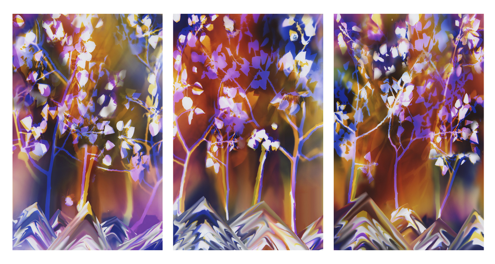 """Inspired by Nature: Pando"" Commissioned by Utah Public Art Program for The University of Utah School of Dentistry, Salt Lake City, Utah. 60"" H x 144"" W (3 60"" H x 38"" W panels)"
