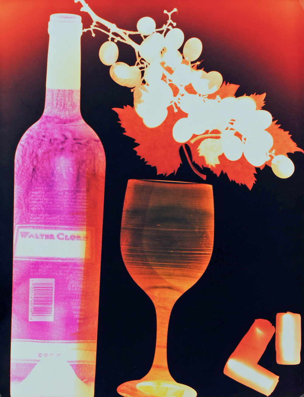 W31 Walter Clore Natasha Bacca photo wine art glass bottle grapes cork pink orange white black.JPG