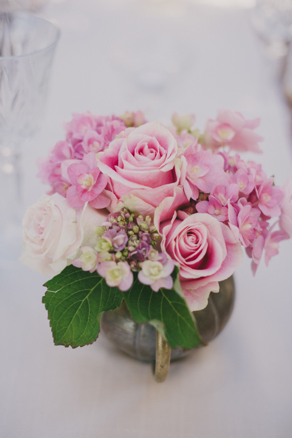 Pinks Table Flower Arrangement in Antique Silver