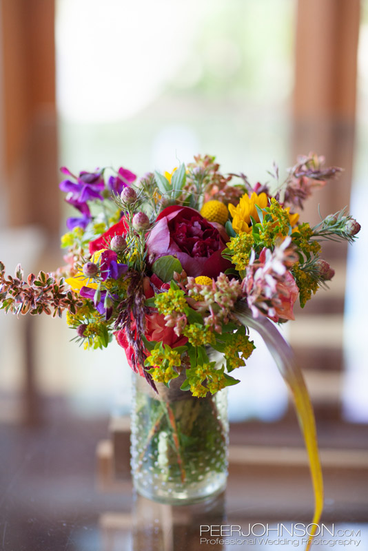 Colorful Wedding Table Flowers by Kate Healey