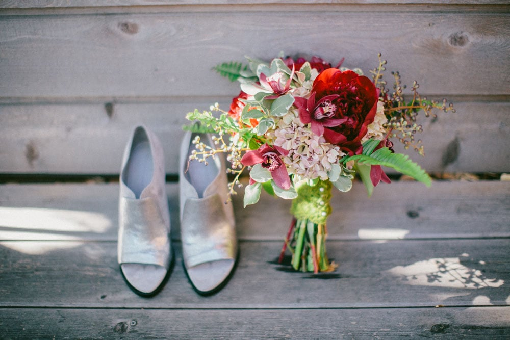 A Bride's Silver Shoes and Bouquet