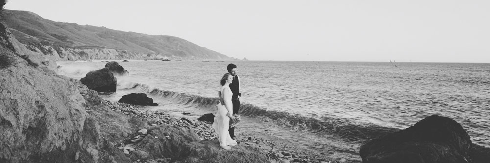 Couple at Molera Beach with Flowers by Big Sur Flowers